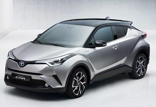 tampilan sisi depan mobil Toyota C-HR 2018 berwarna abu-abu