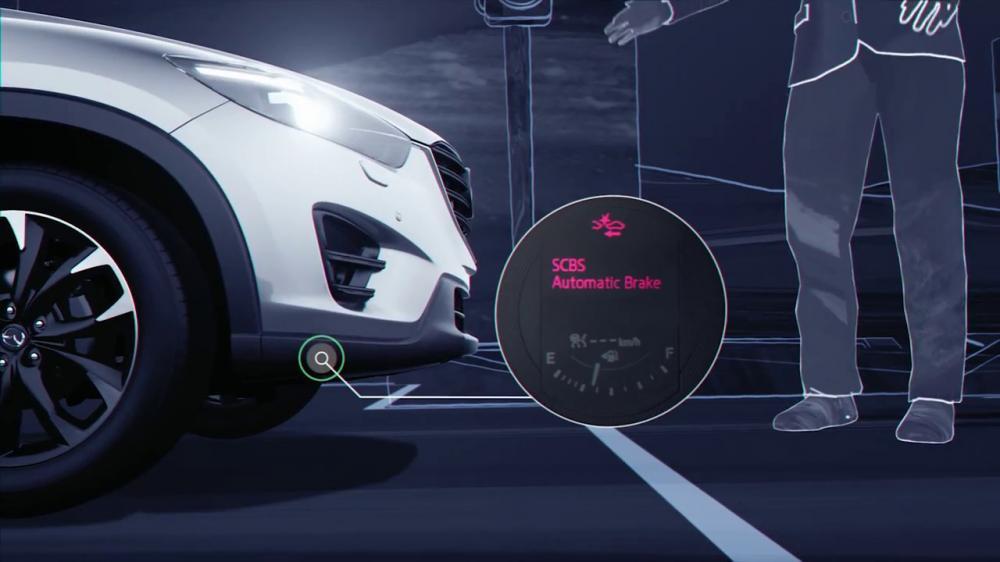 gambaran cara kerja fitur Smart City brake support (SCBS) pada Mazda CX-3