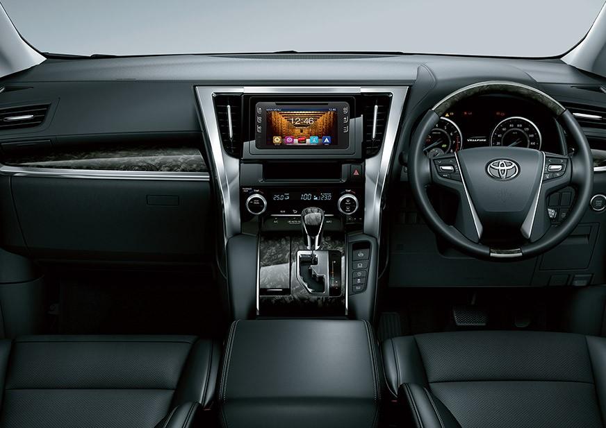 Gambar bagian dashboard mobil Toyota Vellfire 2018 dengan kelengkapan fitur di dalamnya