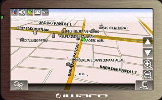Gambar ini menunjukkan gambar pada GPS mobil dengan beberapa tempat ditunjukannya
