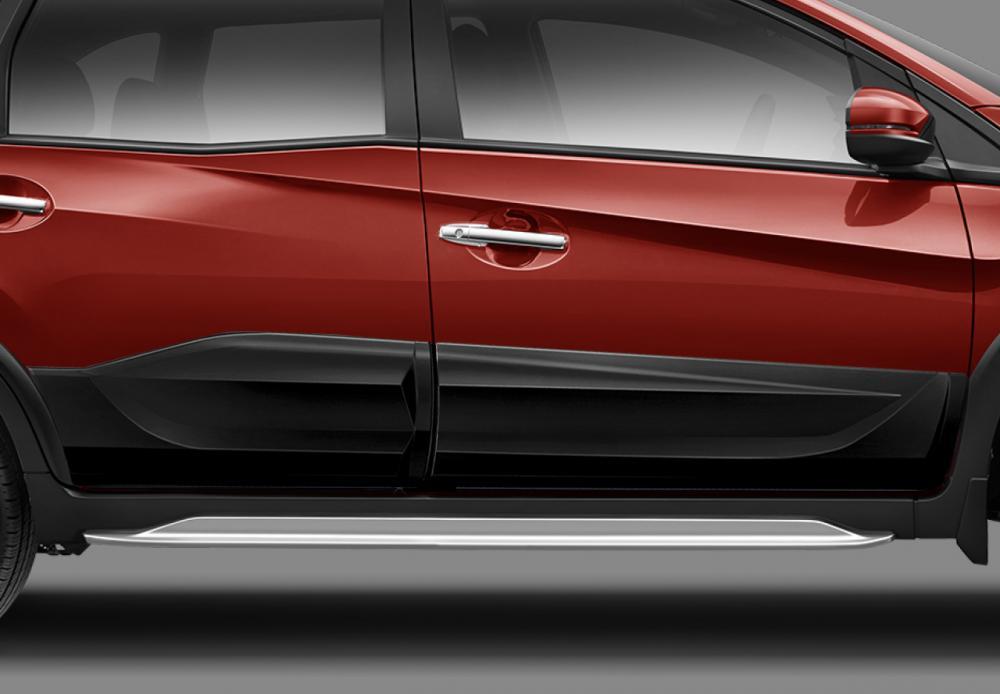 Gambar mobil Honda BR-V E Prestige Facelift 2018 berwarna merah dilihat dari sisi samping