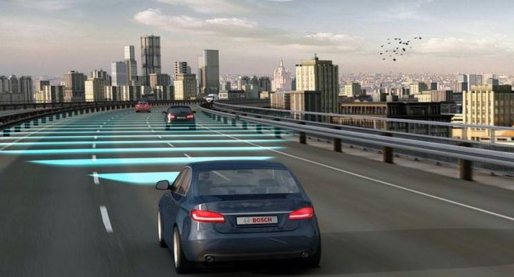 Gambar ini menunjukkan ilustrasi mobil biru dengan jarak aman terhadap kendaraan di depannya