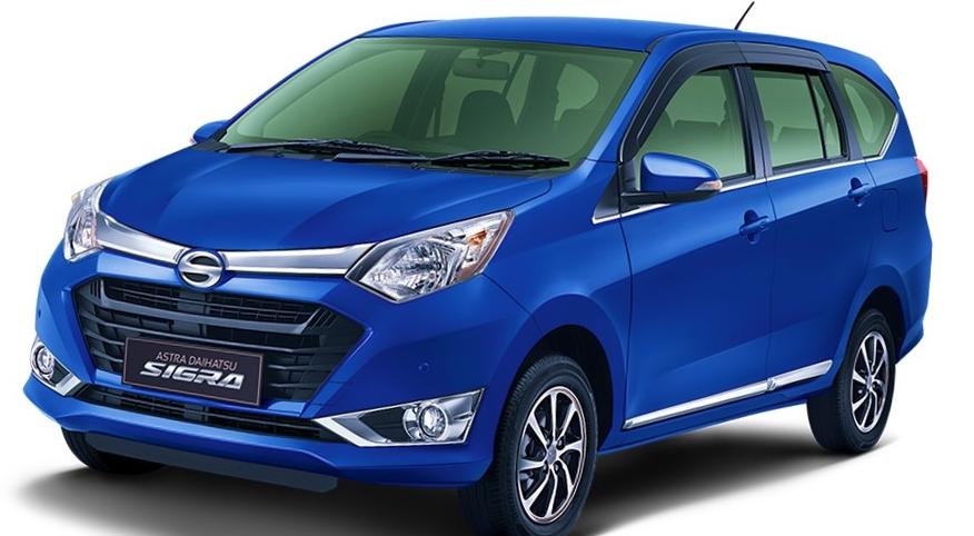 gambar ini menunjukkan mobil Daihatsu sigra warna biru tampak depan