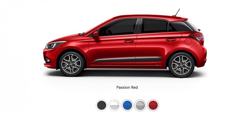 Lima Pilihan Warna Eksterior Hyundai i20 berwarna merah dilihat dari sisi samping
