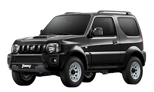 Tampilan sisi depan mobil Suzuki Jimny berwarna abu-abu hitam dilihat dari sisi depan