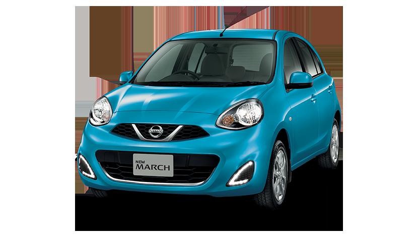 Tampilan Luar Nissan March berwarna biru muda dilihat dari sisi depan