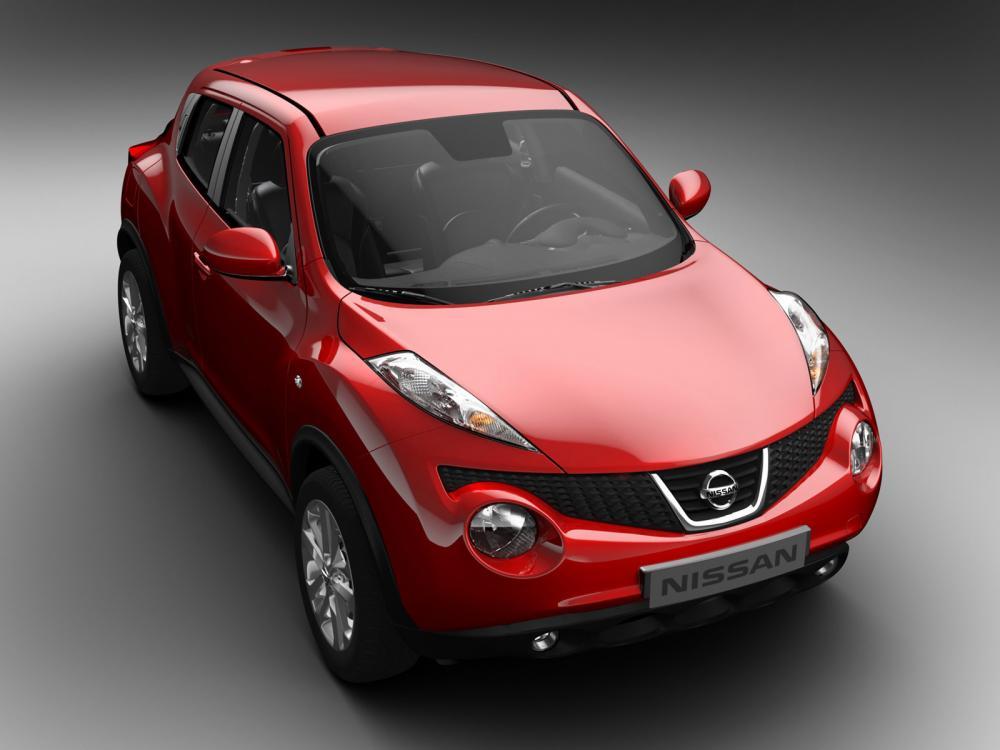 Nissan Juke berwarna merah Dengan Lampu Sipit