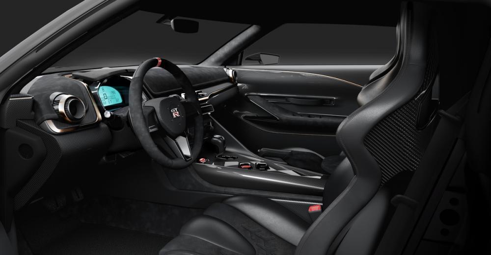 gambar menunjukan interior dalam sebuah mobil Nissan GT-R50