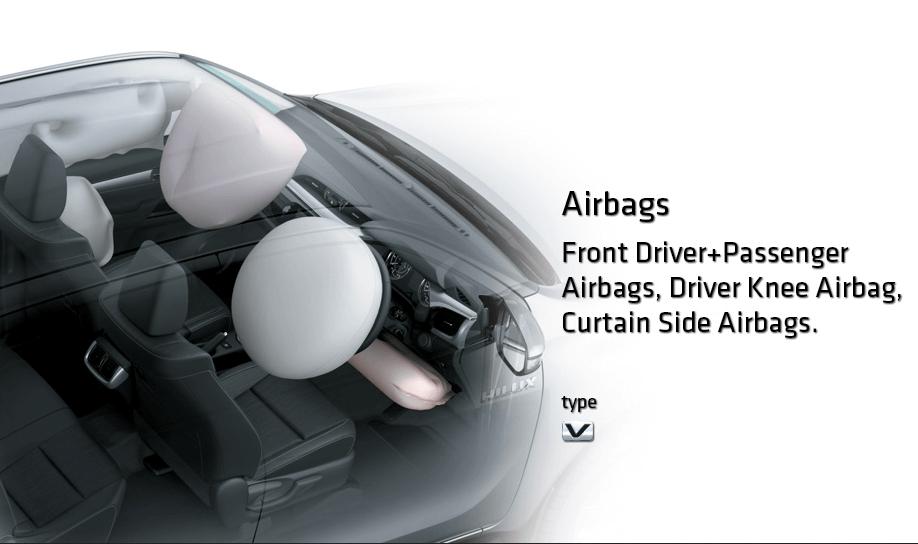 Gambar ini menunjukkan sebuah mobil dan terlihat airbag bagian depan dan samping sedang mengembang