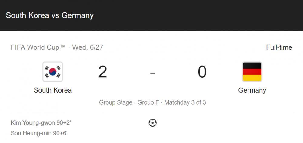 Skor Korea Selatan vs Jerman di Piala Dunia 2018