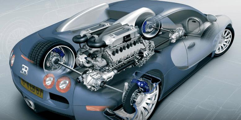 Gambar ini menunjukkan Sebuah mobil warna biru muda dengan terlihat mesin dan roda yang transparant