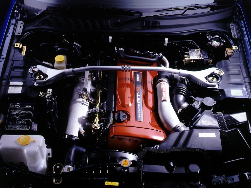 Gambar ini menunjukkan mesin Nissan RB26DETT dengan bagian atas berwarna hitam bertuliskan Nissan Twin Cam 24Valve