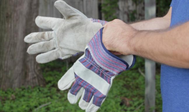 Gambar ini menunjukkan 2 buah tangan sedang memakai sarung tangan berwarna putih
