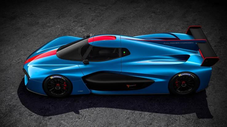Gambar yang menunjukan mobil supcer car baru Pininfarina H2 Speed berwarna biru