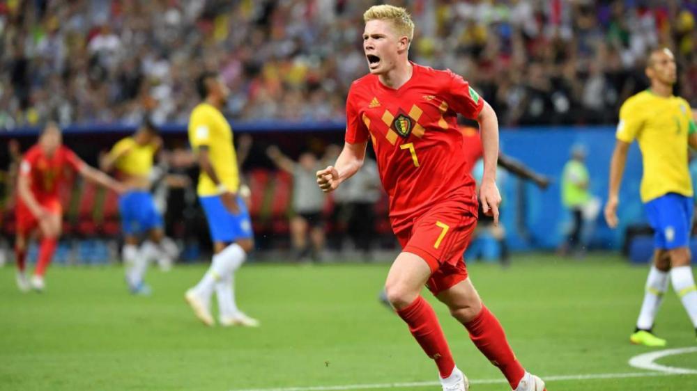 Gambar Kevin De Bruyne saat pertandingan Belgia vs Brazil