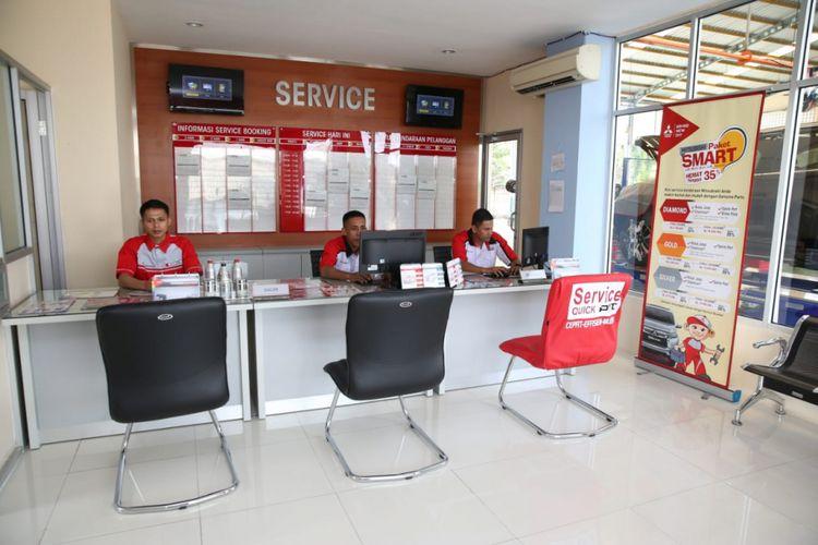 Suasana Outlet servis di dealer Mitsubishi Lampung