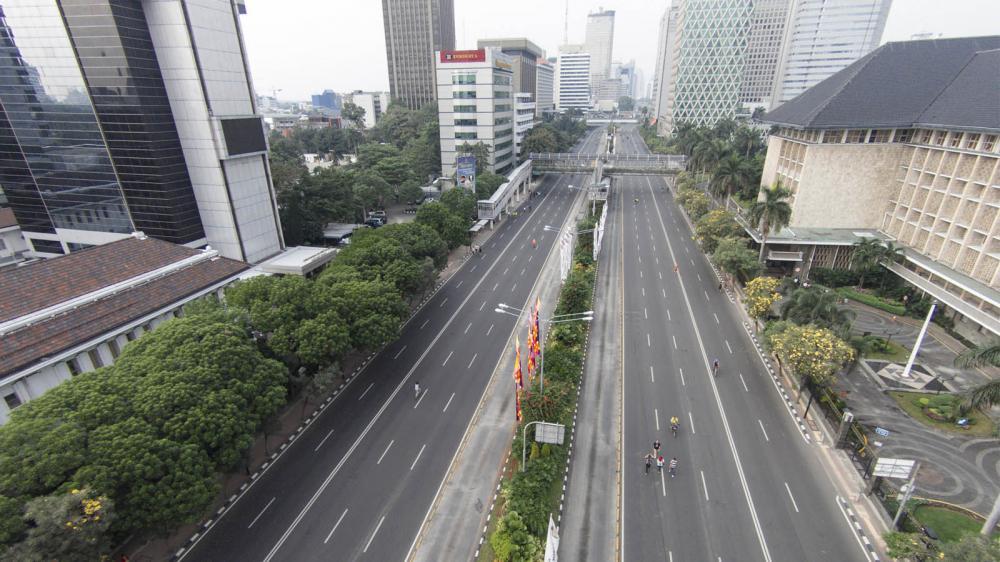 Suasana kota Jakarta yang sepi ditinggal mudik lebaran