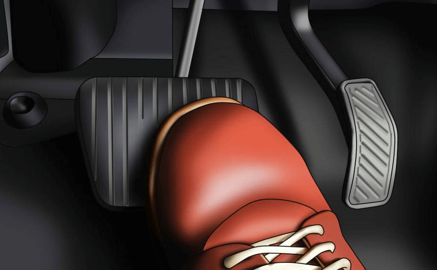 gambar ini menunjukkan ilustrasi sebuah kaki menginjak pedal rem pada Mobil