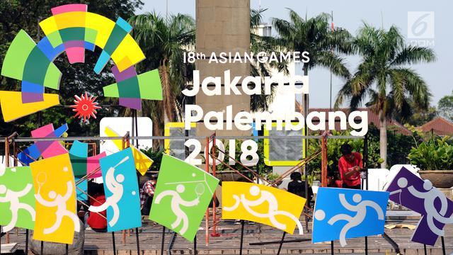 Gambar yang menunjukan penanda Asian Games 2018 di Indonesia