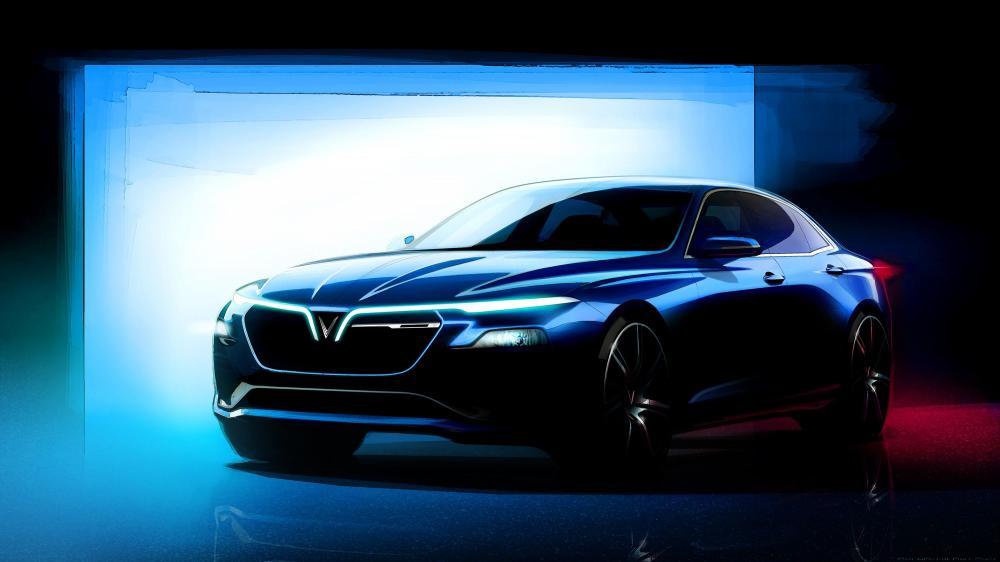 Gambar yang menunjukan konsep mobil sedan baru dari VinFast