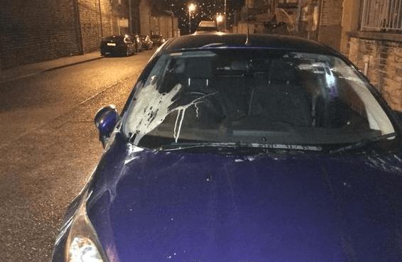Gambar ini menunjukkan sebuah Mobil warna biru yang sedang terparkir dengan kaca depan terdapat kotoran gandum