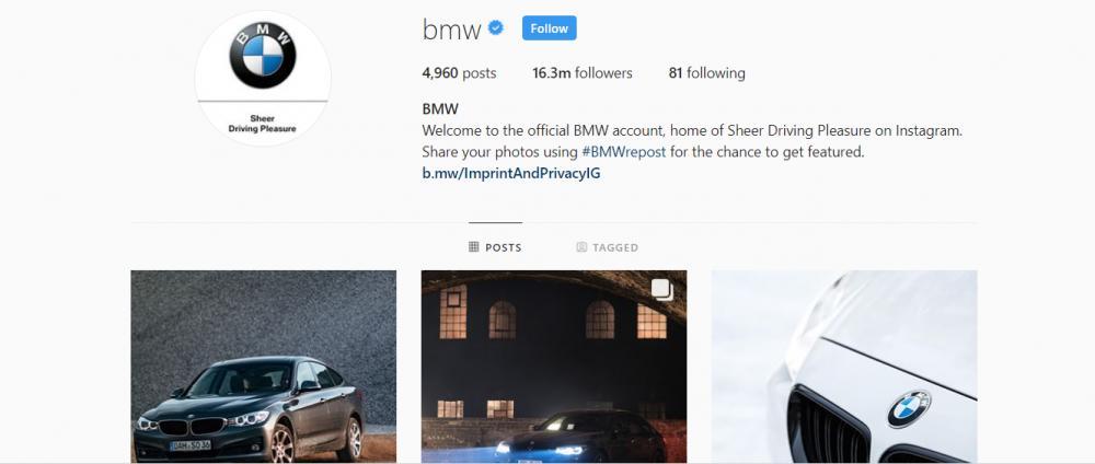 Gambar yang menunjukan akun instagram resmi dari BMW