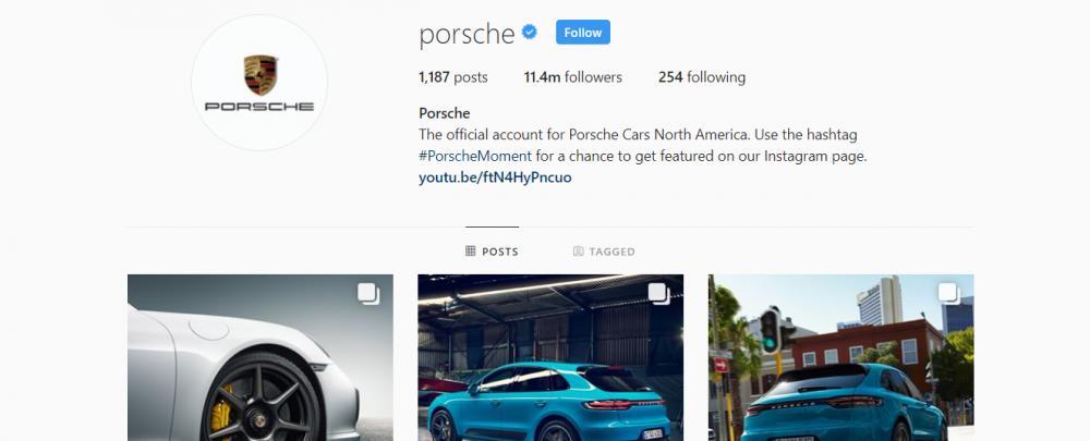 Gambar yang menunjukan akun instagram resmi dari Porsche