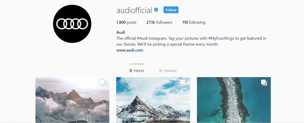 Gambar yang menunjukan akun instagram resmi dari Audi