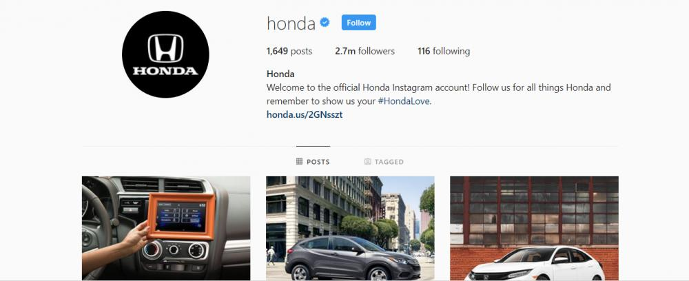 Gambar yang menunjukan akun instagram resmi dari Honda