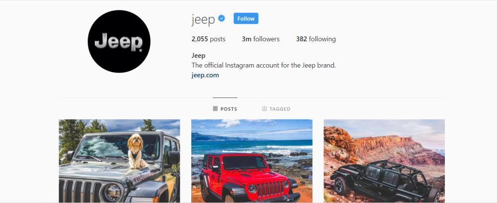 Gambar yang menunjukan akun instagram resmi dari Jeep