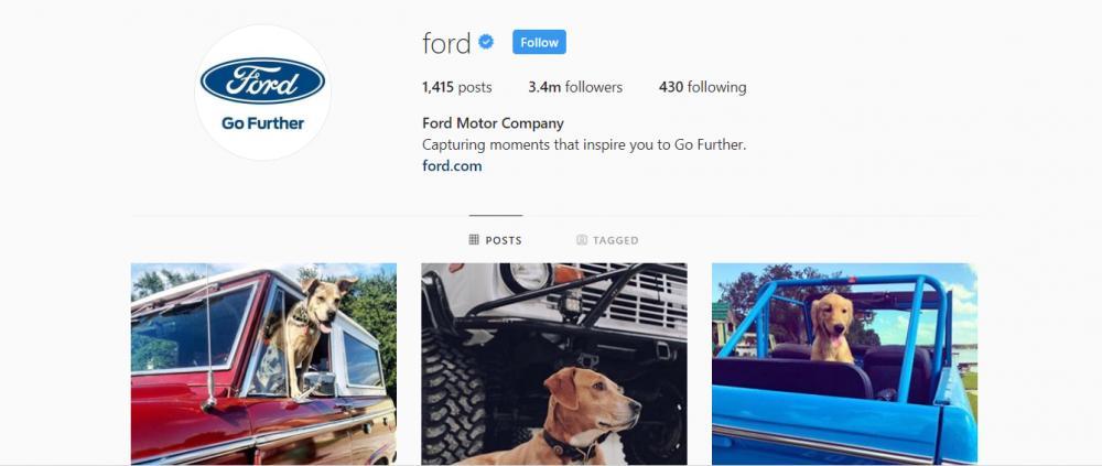Gambar yang menunjukan akun instagram resmi dari Ford