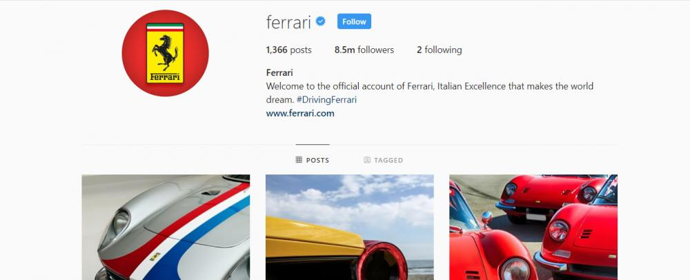 Gambar yang menunjukan akun instagram resmi dari Ferrari