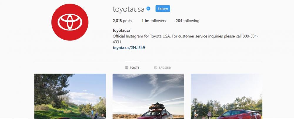 Gambar yang menunjukan akun instagram resmi dari Toyota