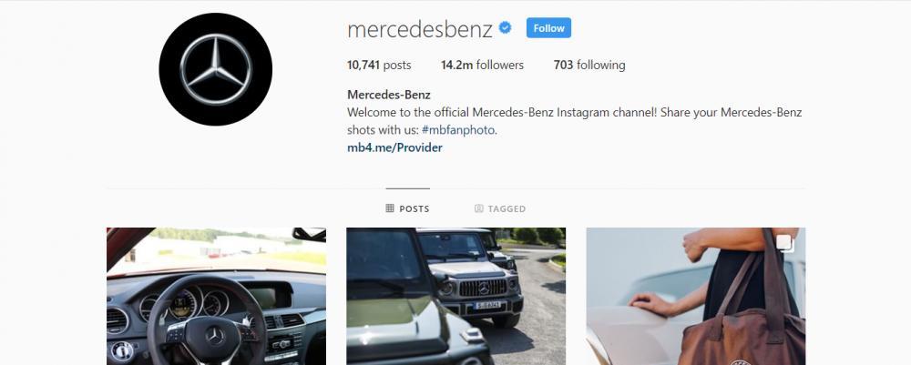 Gambar yang menunjukan akun instagram resmi dari Mercedes-Benz