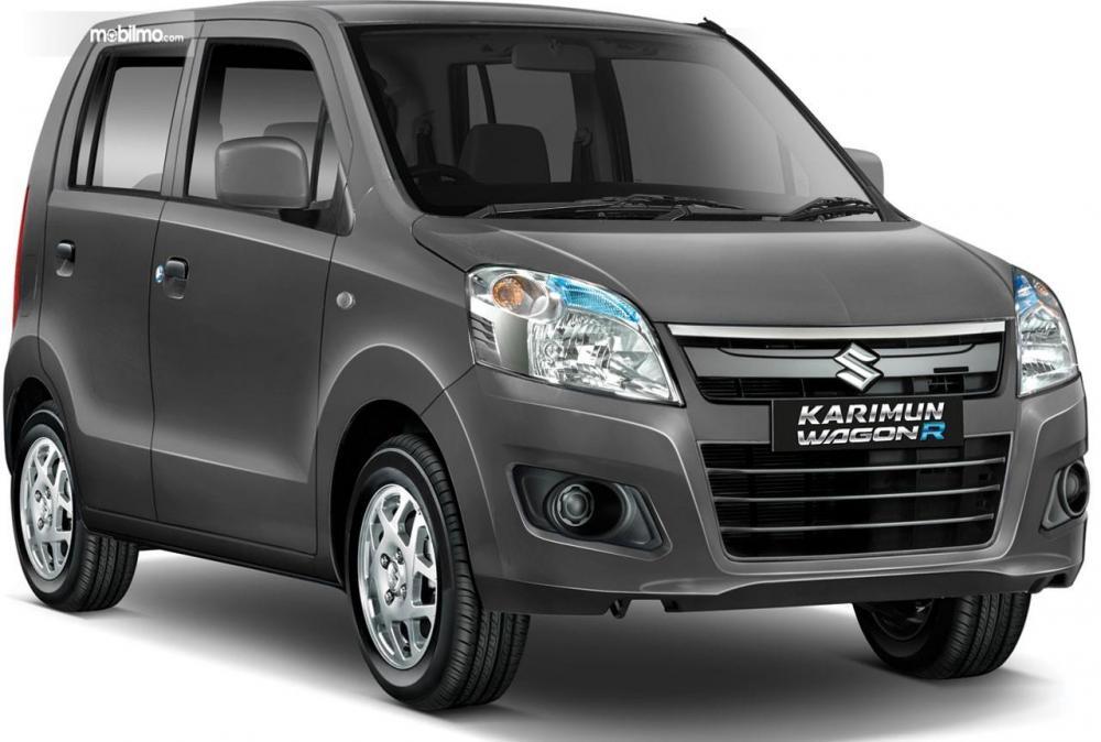Gambar Suzuki Karimun Wagon R warna gray tampak dari depan samping