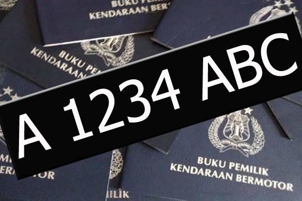 Gambar yang menunjukan ilustrasi pelat nomor kendaraan di Indonesia