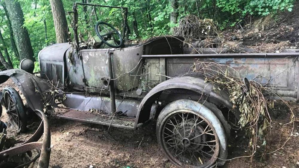 Gambar yang menunjukan mobil klasik yang terkubur dalam tanaman merambat