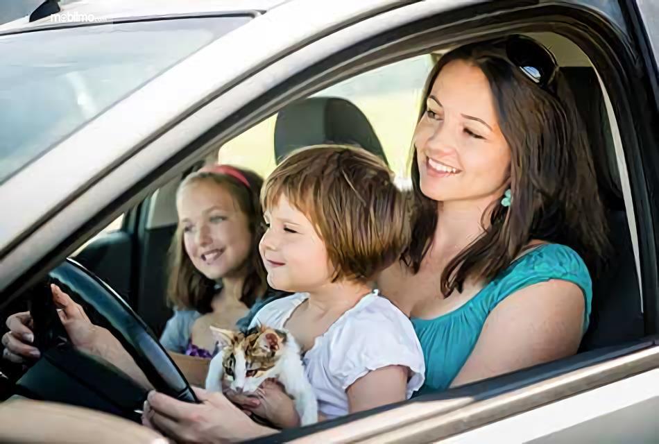 Gambar ibu memangku anak sambil mengemudi, merepotkan