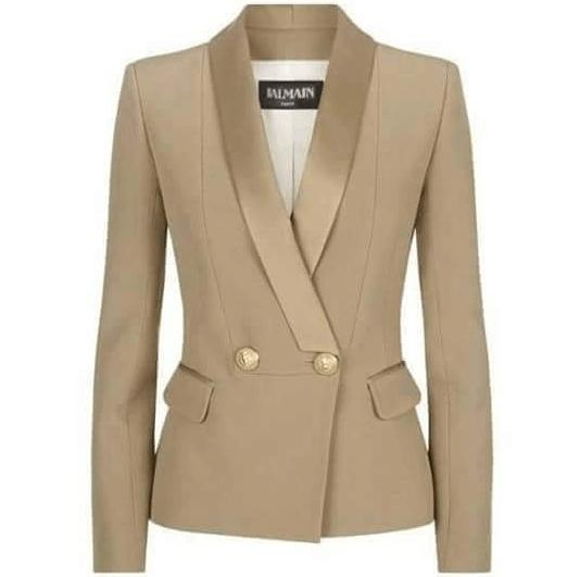 Gambar ini menunjukkan baju blazer untuk wanita dengan warna cokelat