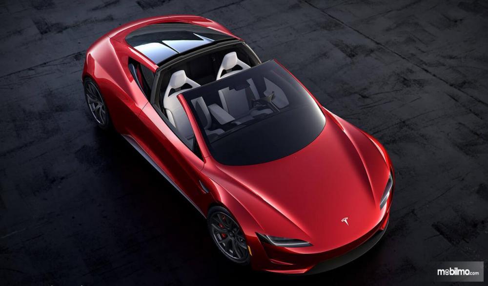 Foto Tesla Roadster tampak atas