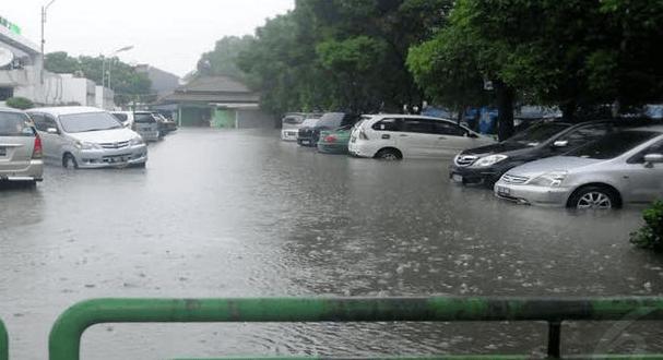Gambar ini menunjukkan beberapa Mobil sedang parkir di tempat yang tergenang banjir