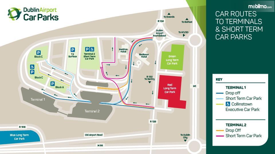 Gambar yang menunjukan denah bagian parkir dari Bandara Dublin