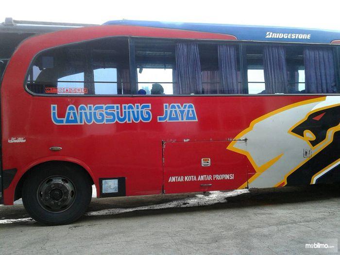 Gambar yang menunjukan armada bus Langsung Jaya
