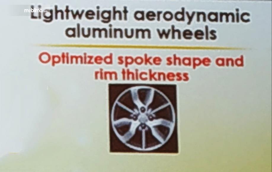Tampak desain pelek yang aerodinamis akan menguragi turbulensi pada roda