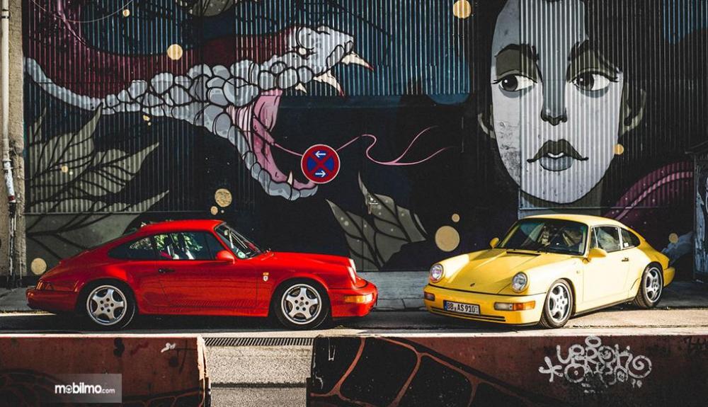 Gambar yang menunjukan pameran mobil Porsche di kota Munich, Jerman