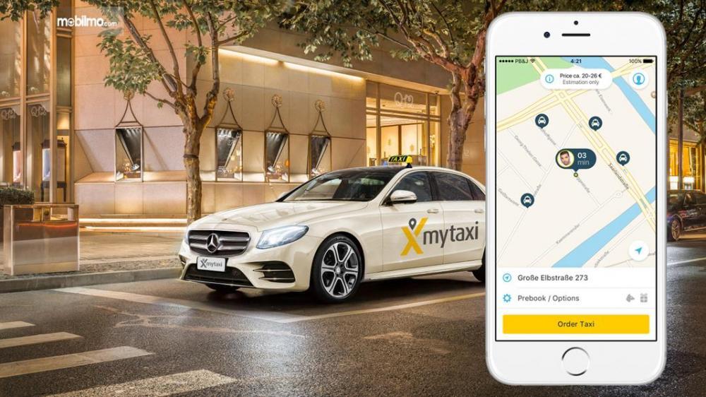 Foto taksi MyTaxi dan aplikasi