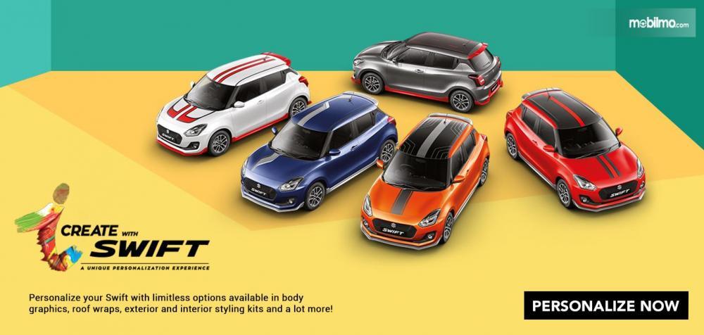 Tampak Suzuki Swift 2019 dengan berbagai pilihan aksesoris