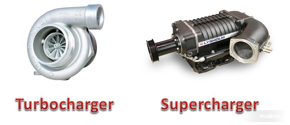 Tampak turbocharger dan supercharger