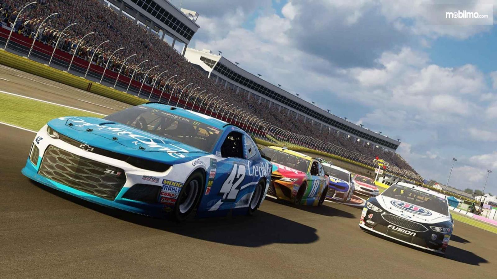 Gambar yang menunjukan balapan NASCAR Heat 3