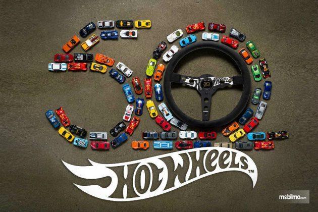 Gambar yang menunjukan ulang tahun ke-50 Hot Wheels